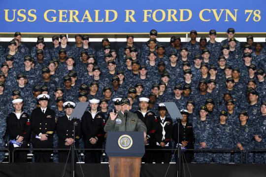 President, POTUS, Donald J. Trump, PCU Gerald R. Ford (CVN78)