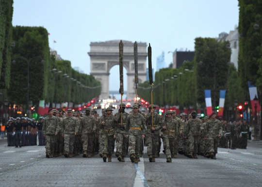 French and U.S. service members rehearse for the Military Parade on Bastille Day