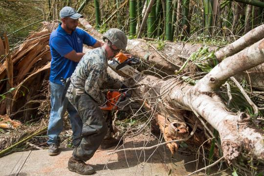 U.S. Marines with the 26th MEU clear roads in Puerto Rico