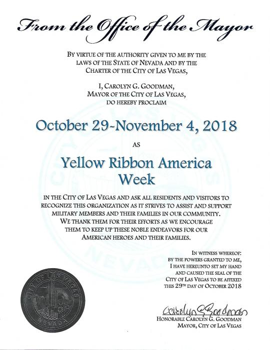 2018 City of Las Vegas Yellow Ribbon America Week