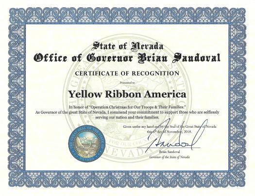 2018 Office of Governor Nevada Award