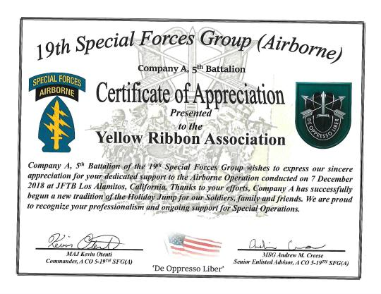 19th SFChristmas Support Award to YRA